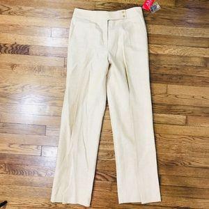 Anne Klein Linen Cotton Natural Palm Desert Pants